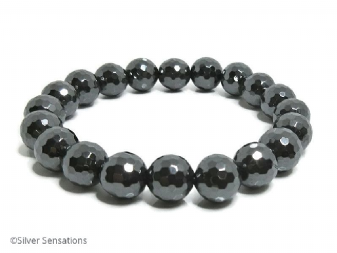Grey Black Hematite Small Faceted Round Beads Chunky Unisex Fashion Bracelet